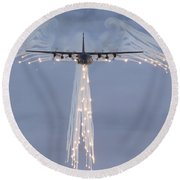 Mc-130h Combat Talon Dropping Flares Round Beach Towel