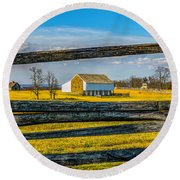 Round Beach Towel featuring the photograph Mc Pherson Barn - Gettysburg National Park by Nick Zelinsky