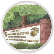 Round Beach Towel featuring the painting Mcas Beaufort Welcome by Betsy Hackett