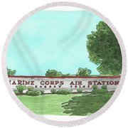 Round Beach Towel featuring the painting Mcas Cherry Point Welcome by Betsy Hackett