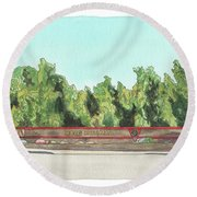 Round Beach Towel featuring the painting Mcas Miramar Welcome by Betsy Hackett