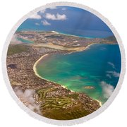 Round Beach Towel featuring the photograph Mcbh Aerial View by Dan McManus