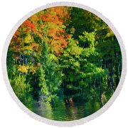 Round Beach Towel featuring the photograph Mccarston's Lake by Gary Hall