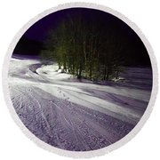Round Beach Towel featuring the photograph Mccauley Evening Snowscape by David Patterson