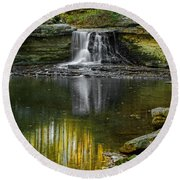 Mccormick's Creek Falls Round Beach Towel