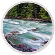 Round Beach Towel featuring the photograph Mcdonald Creek by Gary Lengyel