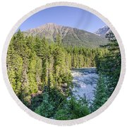 Round Beach Towel featuring the photograph Mcdonald Falls by Margaret Pitcher