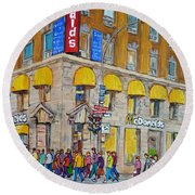 Mcdonald Restaurant Old Montreal Round Beach Towel