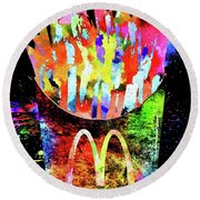 Mcdonald's French Fries Grunge Round Beach Towel
