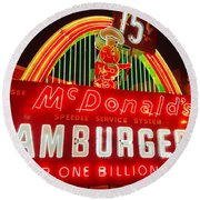 Mcdonald's Historical Neon Round Beach Towel