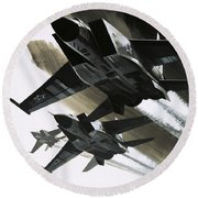 Mcdonnell Douglas F15 Eagle Jet Fighter Round Beach Towel