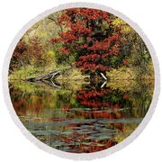 Mcdonough Lake In Autumn Round Beach Towel
