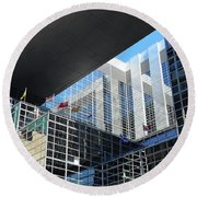 Round Beach Towel featuring the photograph Mcgee Building  Ottawa by John Schneider