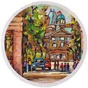 Mcgill Gates  Entrance Of Mcgill University Montreal Quebec Original Oil Painting Carole Spandau Round Beach Towel