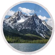 Round Beach Towel featuring the photograph Mcgown Peak by Aaron Spong