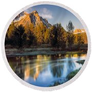 Mcgown Peak Sunrise  Round Beach Towel