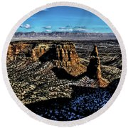 Mcinnis Canyons Tower Round Beach Towel by Steven Parker