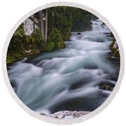 Round Beach Towel featuring the photograph Mckenzie River by Cat Connor