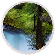 Round Beach Towel featuring the photograph Mckenzie River From Sahalie Falls by Cat Connor