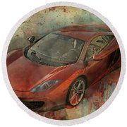 Round Beach Towel featuring the photograph Mclaren Graffiti by Joel Witmeyer