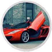 Round Beach Towel featuring the photograph Mclaren Mp4-12c by Joel Witmeyer