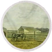 Mcpherson Barn And Cannon Gettysburg  Round Beach Towel