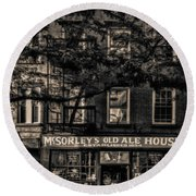 Round Beach Towel featuring the photograph Mcsorley's Old Ale House Nyc Bw by Susan Candelario