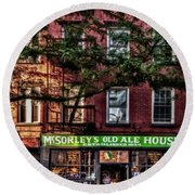 Round Beach Towel featuring the photograph Mcsorley's Old Ale House Nyc by Susan Candelario