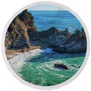 Mcway Falls Julia Pfieffer State Park Round Beach Towel by James Hammond