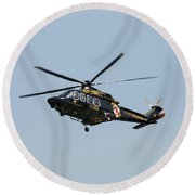 Round Beach Towel featuring the photograph Md State Police Helicopter by Robert Banach
