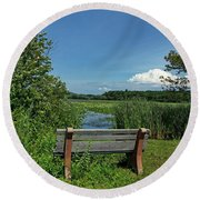 Meadow Bench Round Beach Towel