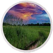 Round Beach Towel featuring the photograph Meadow Lark by Kendall McKernon