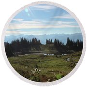 Meadow Mountain View Round Beach Towel by Cathie Douglas
