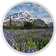 Meadow Of Lupine Near Mount Rainier Round Beach Towel