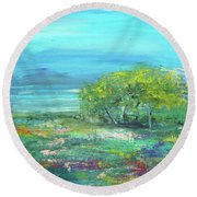 Meadow Trees Round Beach Towel