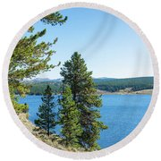 Meadowlark Lake And Trees Round Beach Towel