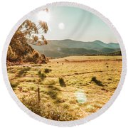 Meadows And Mountains Round Beach Towel