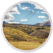 Meadows Aspen And Mountains Round Beach Towel