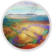 Meander Canyon Round Beach Towel
