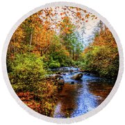 Round Beach Towel featuring the photograph Meandering In The Mountains by Debra and Dave Vanderlaan