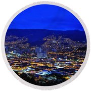 Medellin Colombia At Night Round Beach Towel