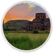 Mediaval Talin's Cathedral At Sunset With Cross Stone In Front, Armenia Round Beach Towel