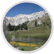 Medicine Bow Peak Round Beach Towel