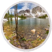 Medicine Bow Snowy Mountain Range Lake View Round Beach Towel