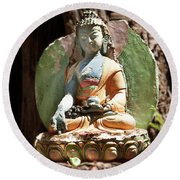 Round Beach Towel featuring the photograph Medicine Buddha With Offerings by Carol Lynn Coronios