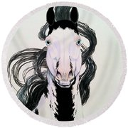 Medicine Hat Tobiano Round Beach Towel by Cheryl Poland