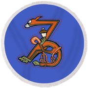 Medieal Squirrel Letter Z Round Beach Towel