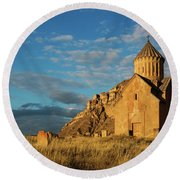 Medieval Areni Church Under Puffy Clouds, Armenia Round Beach Towel