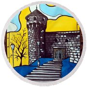 Round Beach Towel featuring the painting Medieval Bastion -  Mace Tower Of Buda Castle Hungary By Dora Hathazi Mendes by Dora Hathazi Mendes