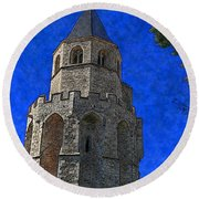 Medieval Bell Tower 2 Round Beach Towel